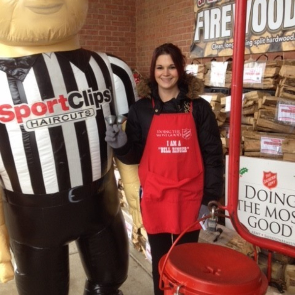 Team Member standing with Sporty collecting funds for American Red Cross at Christmas.jpg