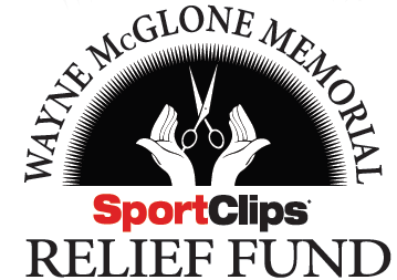 Wayne McGlone Relief Fund Logo of Open Hands and Floating Scissors