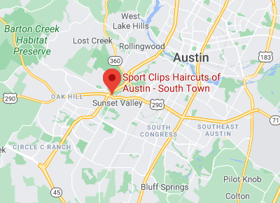 Map to Sport Clips of Austin - South Town Texas