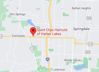 Map to Sport Clips of Harber Lakes