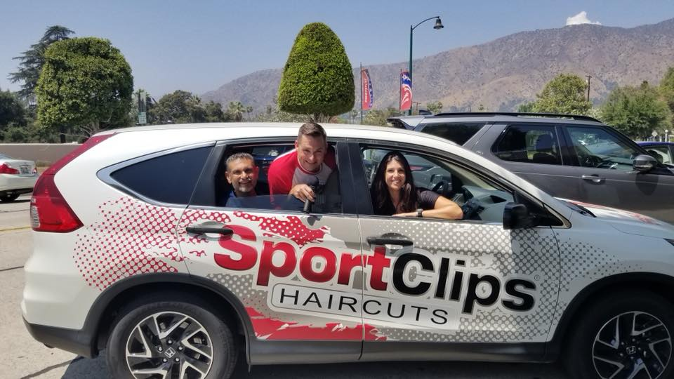 Chad, Arif and Shamaila in Sport Clips Car