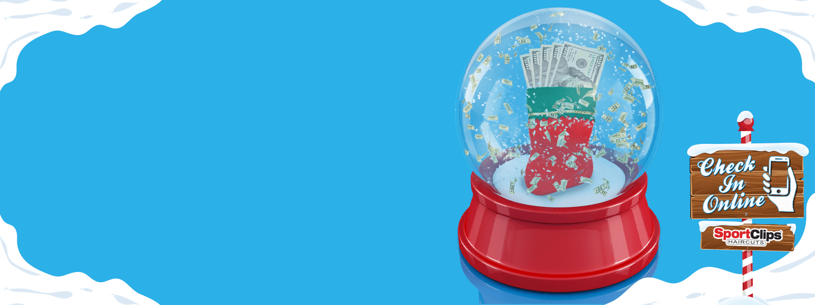Snow Globe full of Money with North Pole Sign instructing visitors to Check In Online