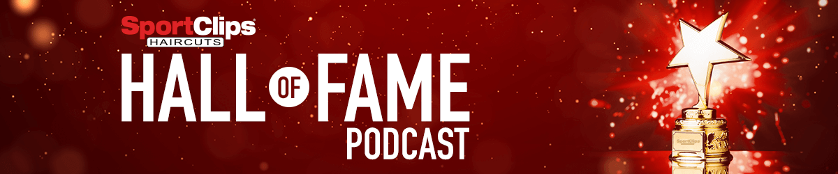 Hall of Fame Podcast with Trophy and Exploding Fireworks in Background
