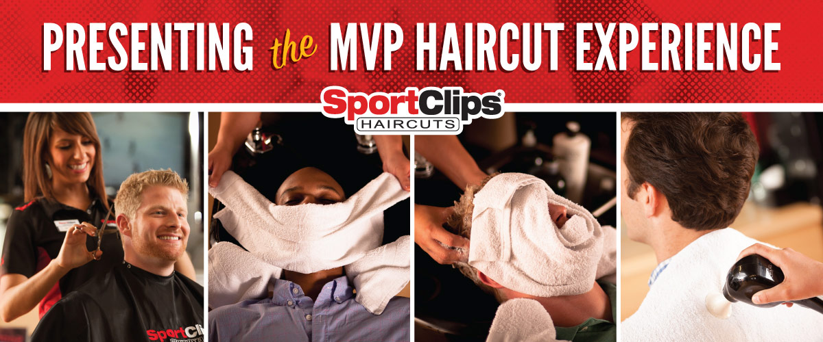 The Sport Clips MVP Haircut Experience with Stylist giving a Client a Haircut, Client getting a Hot Towel placed on his face, Stylist giving a Client a Massaging Shampoo, and Stylist hand using a massager on a Clients upper back