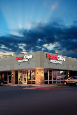 Sport Clips storefront at night